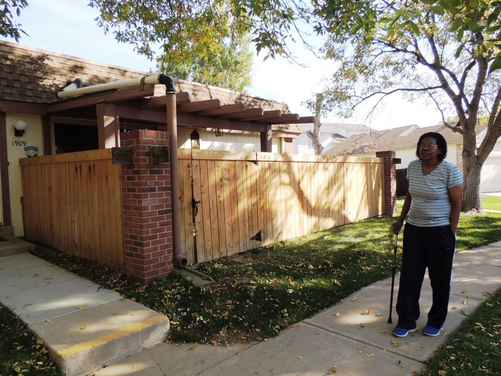Debra Thompson outside her new home in Thornton