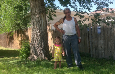 Jose Salas with his granddaughter.